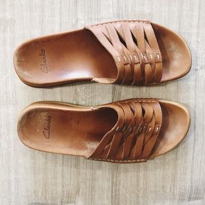 Clarks Brown Leather Slip-On Sandals